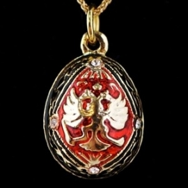 Double-Headed Eagle Faberge Inspired Egg Pendant