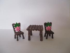 1 pcs tafel of 2 stuks stoel met bloem
