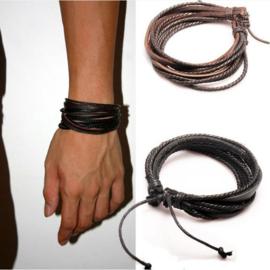 lederen armband zwart