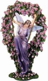 Elfje op schommel met bloemenkrans by Sheila Wolk