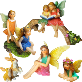Miniature Family Kit Figurines and Accessories - Fairies Statue Set of 6 pcs for Outdoor or House Decor