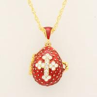 Faberge ei hanger rode kristal cross hanger