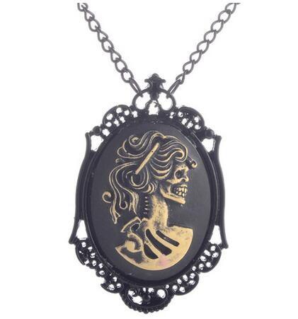 Vintage zwarte dame hoofd steam punk gothic hanger ketting sieraden