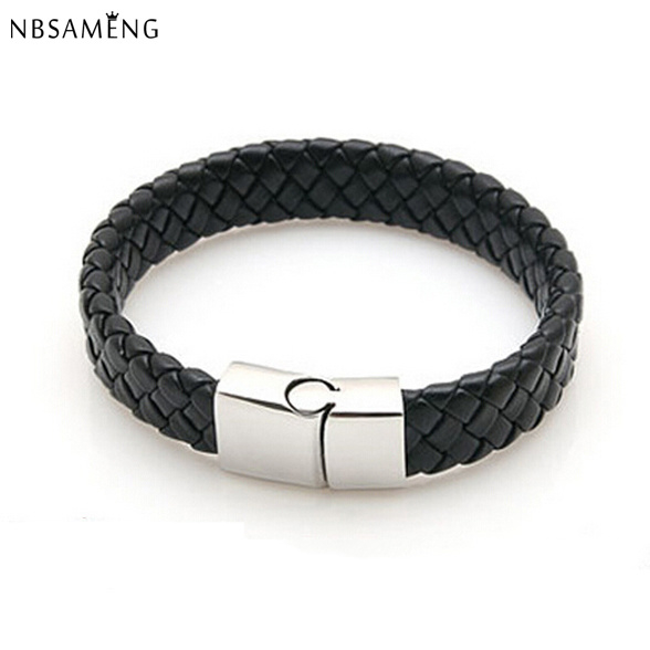Zwart Gevlochten Lederen Armband Mannen Rvs Armbanden