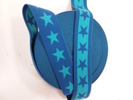 Elastiek 40 mm blauw sterren