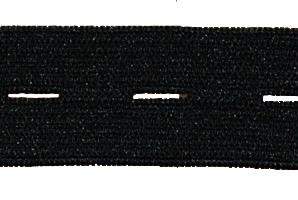 Knoopsgatenelastiek zwart