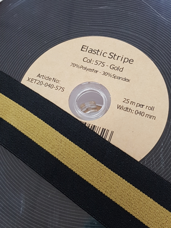 Elastiek streep goud 40mm