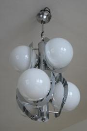 jaren 70 lamp. Chroom met 6 glazen bollen.