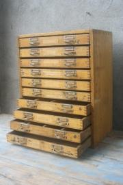 Oud ladenblokje met 10 lades
