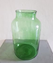Groot formaat Groene Glazen Vaas. Mondgeblazen.