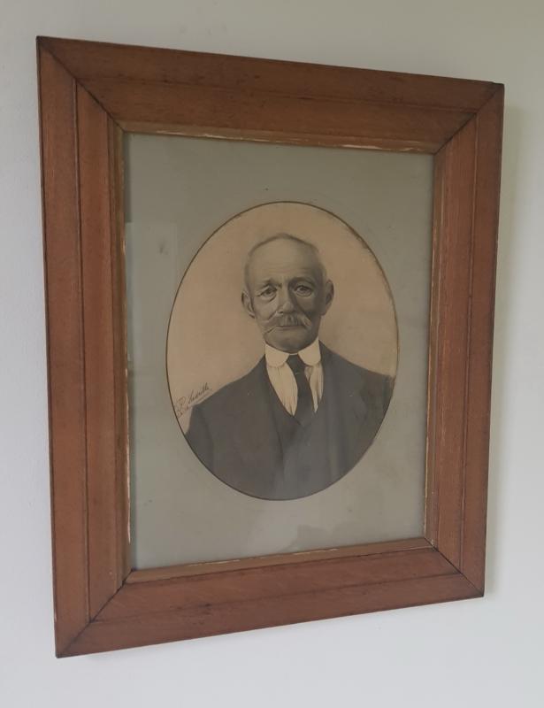Potloodtekening achter glas, 1916