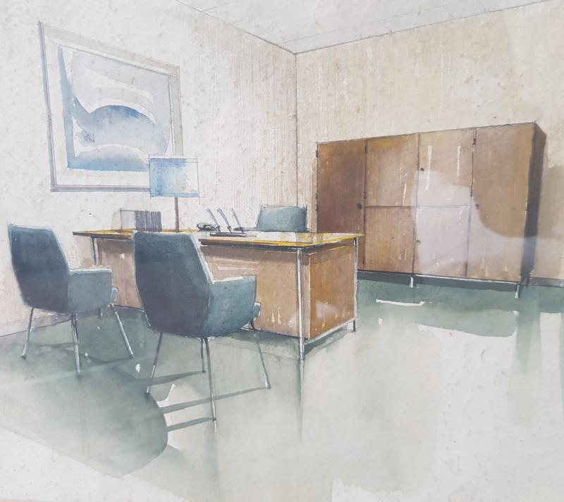 Ingelijste schildering interieurarchitect