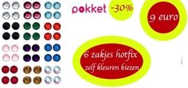 actiepakket 6 zakjes ss6-2mm en/of ss10-3mm hotfixsteentjes glas AAA+ (zelf kleuren kiezen)
