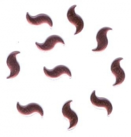 5 hotfix curve rose 9x5mm 100 stuks