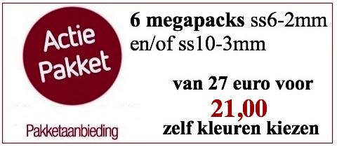 actiepakket 6 MEGAPACKS ss6-2mm en/of ss10-3mm hotfixsteentjes glas AAA+ (zelf kleuren kiezen)