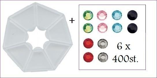 opbergdoosje en 6 zakjes hotfixsteentjes glas 3mm totaal 2400 steentjes (alleen met volle spaarkaart gratis mee te bestellen)