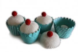 Cupcake retro blauw