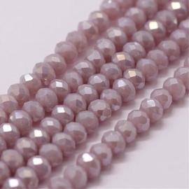 Faceted Rondelles 2 x 3 mm Milky Light Mauve AB F1259 (per 129 beads)