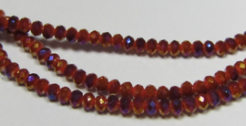 Faceted Rondelles 2 x 3 mm Opaque Dark Red AB F1118 (per 148 beads)