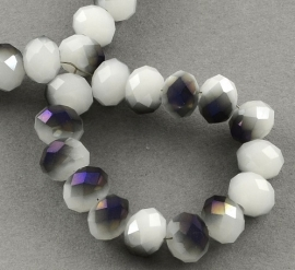 Faceted Rondelles 2 x 3 mm Milky White Purple Plated F886 (per 148 beads)