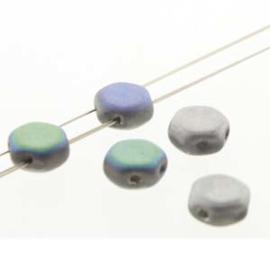 Honeycomb 6 mm Glittery Matte Silver (per 30)