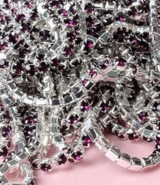 Cup Chain SS4 1,5 mm Silver - Dark Purple (per 50 cm)
