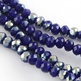 Faceted Rondelles 2 x 3 mm Opaque Dark Blue Golden Plated F1083 (per 148 beads)