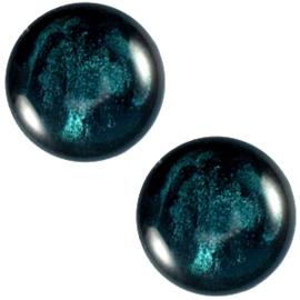 Polaris Cabochon Coin 20 mm Jais Dark Teal Blue (per 1)