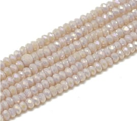 Faceted Rondelles 1,5 x 2 mm Opaque Light Mauve AB F1332 (per 198 beads)
