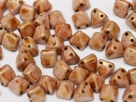 Pyramid Beads 2-Hole 6 mm Alabaster Roman Rose (per 8)