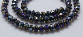Faceted Rondelles 4 x 6 mm Black AB Plated F1191 (per 98 beads)