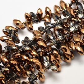 Faceted Drops 12 x 6 mm Black Diamond Copper Plated F1244 (per 98 beads)