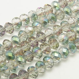 Faceted Rondelles 3 x 4 mm Half Plated Green F1297 (per 148 beads)