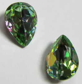 Glas Druppel 10 x 14 mm Rainbow Green (per stuk)