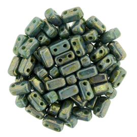 CzechMates Bricks Luster - Transparent Gold - Turquoise (per 22)