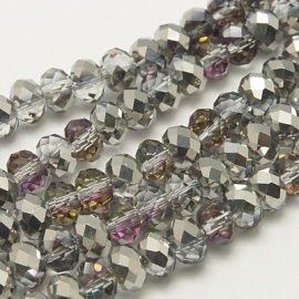 Faceted Rondelles 3 x 4 mm Half Plated Silver F964 (per 148 beads)