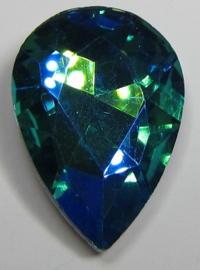 Glass Drop 20 x 30 mm Aqua Purple Plated (per 1)