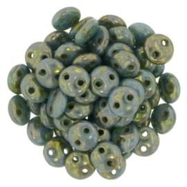 CzechMates Lentils Turquoise - Bronze Picasso (per 12)