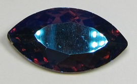 Glass Navette 17 x 32 mm Amethyst Blue Plated (per 1)