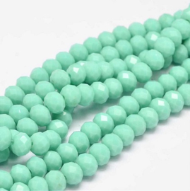 Faceted Rondelles 6 x 8 mm Opaque Dark Mint F1231 (per 70 beads