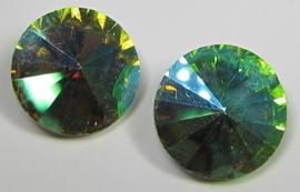 Glass Rivoli 18 mm Olive AB (per 1)