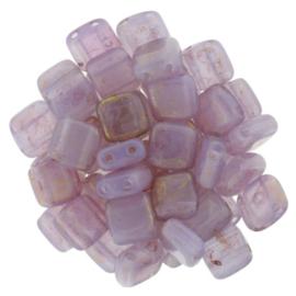 CzechMates Tiles Pink/Topaz Luster - Milky Alexandrite (per 16)