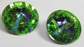 Glass Rivoli 18 mm Peridot Blue Plated (per 1)