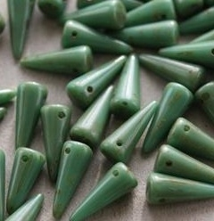 Spikes 5 x 13 mm Green Turquoise Travertin (per 8)
