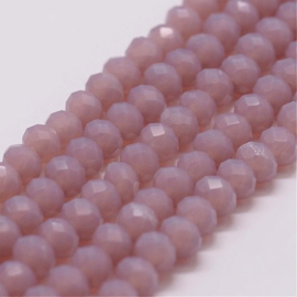 Faceted Rondelles 3 x 4 mm Light Cyclamen Opal F1254 (per 134 beads)