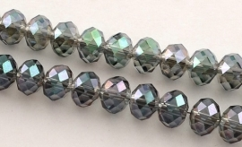 Faceted Rondelles 2 x 2,5 mm Crystal Green Plated F973 (per 198 beads)