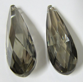 Glass Drop 75 x 21 mm Luster Transparent Gray (per 1)