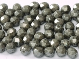 Fire Polished 6 mm Chalk White Grey Luster (per 24)