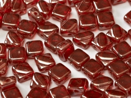Silky Beads 2-Hole 6 x 6 mm Ruby Shimmer (per 16)