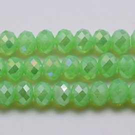 Faceted Rondelles 6 x 8 mm Milky Green AB F359 (per 70 beads)